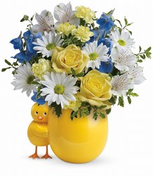 Teleflora's Sweet Peep Bouquet - Baby Blue from Swindler and Sons Florists in Wilmington, OH